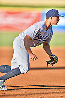 Pensacola Blue Wahoos third baseman Nick Senzel (13) during a game against the Tennessee Smokies at Smokies Stadium on August 5, 2017 in Kodak, Tennessee. The Smokies defeated the Blue Wahoos 6-2. (Tony Farlow/Four Seam Images)