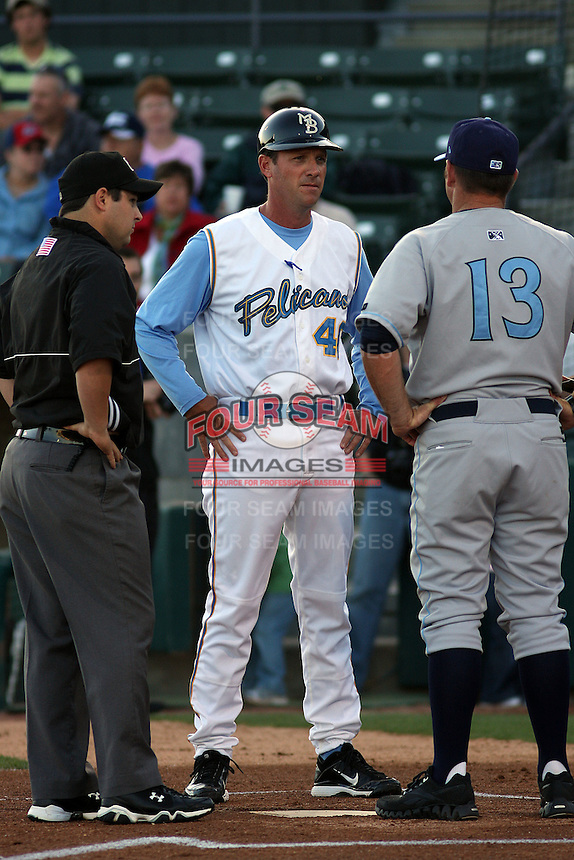 Myrtle Beach Pelicans manager Jason Wood #40 meeting at the plate before a game against the Wilmington Blue Rocks at Tickerreturn.com Field at Pelicans Ballpark on April 7, 2012 in Myrtle Beach, SC. Myrtle Beach defeated Wilmington 2-1. (Robert Gurganus/Four Seam Images)
