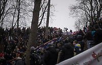 Wout Van Aert (BEL/Crelan-Vastgoedservice) riding all the way up a tricky climb while the crowd roars<br /> <br /> UCI Cyclocross World Cup Namur/Belgium 2016