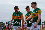 David Clifford, Kerry, Seán O'Shea, Kerry, and Diarmuid O'Connor, Kerry, after the Allianz Football League Division 1 Semi-Final, between Tyrone and Kerry at Fitzgerald Stadium, Killarney, on Saturday.