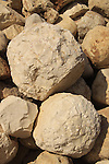 Israel, Sharon region, Ballista balls at the Crusader fortress Arsur in Apollonia National Park