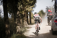 Markel IRIZAR (ESP/Trek-Segafredo) biting the dust one very last time on the white dust roads of Tuscany (in his last season as a pro)<br /> <br /> 13th Strade Bianche 2019 (1.UWT)<br /> One day race from Siena to Siena (184km)<br /> <br /> ©kramon