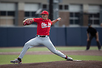 Ohio State Buckeyes pitcher Seth Lonsway (11) delivers a pitch to the plate during NCAA baseball action against the Michigan Wolverines on April 10, 2021 at Ray Fisher Stadium in Ann Arbor, Michigan. The Wolverines defeated the Buckeyes 7-0. (Andrew Woolley/Four Seam Images)