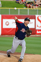 Andrew Carraway (34) of the Tacoma Rainiers before the game against the Salt Lake Bees in Pacific Coast League action at Smith's Ballpark on July 9, 2014 in Salt Lake City, Utah.  (Stephen Smith/Four Seam Images)