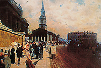London: The National Gallery and St. Martin's in the Fields, c. 1878. Giuseppe de Nittis.  Reference only.