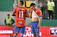 PALMIRA - COLOMBIA, 01-09-2019: Ray Vanegas y Wilfrido De La Rosa del Pasto lucen decepcionados después del partido entre Deportivo Cali y Deportivo Pasto por la fecha 9 de la Liga Águila II 2019 jugado en el estadio Deportivo Cali de la ciudad de Palmira. / Ray Vanegas and Wilfrido De La Rosa of Pasto look disappointed after match for the date 9 between Deportivo Cali and Deportivo Pasto as part Aguila League II 2019 played at Deportivo Cali stadium in Palmira city. Photo: VizzorImage / Gabriel Aponte / Staff