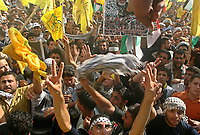 """Thousands of Palestinian Fatah supporters gather at a rally marking the third anniversary of the death of the late Palestinian leader Yasser Arafat in Gaza City, Monday, Nov. 12, 2007. Hamas security forces opened fire at a mass rally commemorating the death of the late Palestinian leader, violently dispersing the largest public display of support for the rival Fatah movement since Hamas seized control of the Gaza Strip in June. Five people were killed and at least 31 were wounded, medical officials and Fatah said.""""photo by Fad Adwan"""""""
