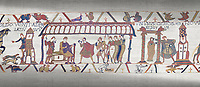 Bayeux Tapestry scene 15:  Dule William of Normandy hold discussions with Harold and, right, Williams daughter Aelgyve is detroved to him.