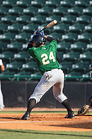 Adrian Abreu (24) of the Savannah Sand Gnats at bat against the Hickory Crawdads at L.P. Frans Stadium on June 14, 2015 in Hickory, North Carolina.  The Crawdads defeated the Sand Gnats 8-1.  (Brian Westerholt/Four Seam Images)