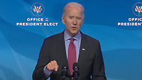 """United States President-elect Joe Biden delivers remarks introducing """"key members of his economic and jobs team"""" from the Queen Theatre in Wilmington, Delaware on Friday, January 8, 2021.<br /> CAP/MPI/RS<br /> ©RS/MPI/Capital Pictures"""
