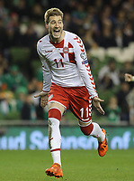 Republic of Ireland v Denmark 2018 FIFA World Cup WM Weltmeisterschaft Fussball Qualifying Nicklas Bendtner of Denmark celebrates after scoring from the penalty spot during the 2018 FIFA World Cup Qualifying match at the Aviva Stadium, Dublin PUBLICATIONxNOTxINxUK Copyright: xLorrainexO Sullivanx FIL-10950-0051   <br /> Foto Insidefoto