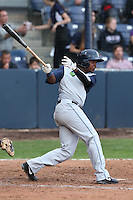 Pedro Ruiz #14 of the Hillsboro Hops bats against the Vancouver Canadians at Nat Bailey Stadium on July 24, 2014 in Vancouver, British Columbia. Vancouver defeated Hillsboro, 5-2. (Larry Goren/Four Seam Images)
