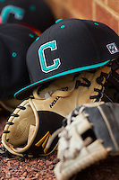 A Coastal Carolina Chanticleers cap rests on top of a glove during the game against the High Point Panthers at Willard Stadium on March 14, 2014 in High Point, North Carolina.  The Panthers defeated the Chanticleers 3-0.  (Brian Westerholt/Four Seam Images)