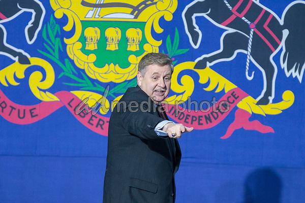 Rick Saccone, Republican Congressional candidate for Pennsylvania's 18th district, leaves the stage after speaking to supporters during a Make American Great Rally at Atlantic Aviation in Moon Township, Pennsylvania on March 10th, 2018. Photo Credit: Alex Edelman/CNP/AdMedia