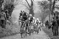 Ian Stannard (GBR/Team Sky) leads the peloton on the Oude Kwaremont<br /> <br /> 69th Kuurne-Brussel-Kuurne 2017 (1.HC)