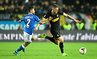191030 -- BRESCIA, Oct. 30, 2019 Xinhua -- FC Inter s Milan Skriniar R vies with Brescia s Stefano Sabelli during a Serie A soccer match between Brescia and FC Inter in Brescia, Italy, Oct 29, 2019. Photo by Alberto Lingria/Xinhua SPITALY-BRESCIA-SOCCER-SERIE A-INTER MILAN VS BRESCIA PUBLICATIONxNOTxINxCHN <br /> Brescia 29-10-2019 Stadio Mario Rigamonti <br /> Football Serie A 2019/2020 <br /> Brescia - FC Internazionale <br /> Photo Alberto Lingria / Xinhua / Imago  / Insidefoto