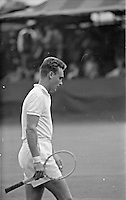 American tennis player Vic Seixas on court during U.S. National Tennis Championships, Forest Hills New York, 1956. Photo by John G. Zimmerman.
