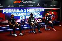 1st May 2021; Algarve International Circuit, in Portimao, Portugal; F1 Grand Prix of Portugal, qualification sessions;  press conference with HAMILTON Lewis gbr, Mercedes AMG F1 GP W12 E Performance, BOTTAS Valtteri fin, Mercedes AMG F1 GP W12 E Performance and VERSTAPPEN Max ned, Red Bull Racing Honda RB16B