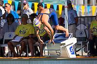 Santa Clara, California - Friday June 3, 2016:Madison Ward dives in for the Women's 100 LC Meter Breastroke B final.