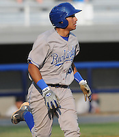 Infielder Michael Antonio (16) of the Burlington Royals, Appalachian League affiliate of the Kansas City Royals, in a game against the Kingsport Mets on August 20, 2011, at Hunter Wright Stadium in Kingsport, Tennessee. Kingsport defeated Burlington, 17-14. (Tom Priddy/Four Seam Images)