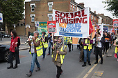 Social Housing Not Social Cleansing.  StopHDV protest against proposed privatisation of Haringey council estates, Tottenham, London.