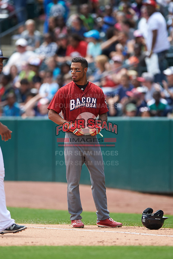 Lehigh Valley IronPigs outfielder Nick Williams (19) looks to the umpire after being called out during a game against the Columbus Clippers on May 12, 2016 at Huntington Park in Columbus, Ohio.  Lehigh Valley defeated Columbus 2-1.  (Mike Janes/Four Seam Images)