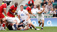 10th July 2021; Twickenham, London, England; International Rugby Union England versus Canada; Harry Randall of England gets out wide fast while Alex Dombrandt of England looks on