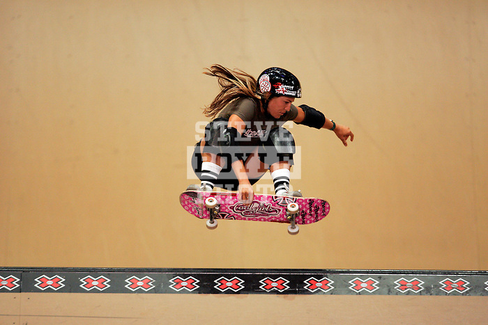 Holly Lyons competes in the women's vert competition at the Staples Center during X-Games 12 in Los Angeles, California on August 3, 2006.