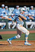 Brian Miller (5) of the North Carolina Tar Heels follows through on his swing against the Kentucky Wildcats at Boshmer Stadium on February 17, 2017 in Chapel Hill, North Carolina.  The Tar Heels defeated the Wildcats 3-1.  (Brian Westerholt/Four Seam Images)