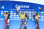 FIS Snowboard World Cup - Covid-19 Outbreak  Parallel Slalom Finals event on 17/12/2020 in Carezza, Italy. In action at the podium from left Ladina Jenny (SUI), Ramona Theresia Hofmeister (GER) and Selina Joerg (GER)