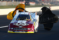Aug. 30, 2013; Clermont, IN, USA: NHRA funny car driver Tim Wilkerson during qualifying for the US Nationals at Lucas Oil Raceway. Mandatory Credit: Mark J. Rebilas-