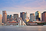 Sunset on Boston Harbor, Boston, MA, USA