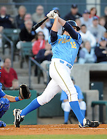 April 10, 2009: First baseman Freddie Freeman (12) of the Myrtle Beach Pelicans, Class A affiliate of the Atlanta Braves, in a game against the Wilmington Blue Rocks at BB&T Coastal Field in Myrtle Beach, S.C. Photo by:  Tom Priddy/Four Seam Images