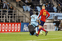 SAINT PAUL, MN - APRIL 24: Justin McMaster #24 of Minnesota United FC and David Ochoa #1 of Real Salt Lake fall into each other during a game between Real Salt Lake and Minnesota United FC at Allianz Field on April 24, 2021 in Saint Paul, Minnesota.