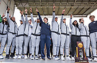 """April 2, 2018; Head coach Muffet"""" McGraw and team members celebrate on stage during the Welcome Home event on south quad. Students and fans gathered on campus to welcome home the women's basketball team after their win in the NCAA National Championship. (Photo by Barbara Johnston/University of Notre Dame)"""