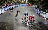 the thinned out group fighting for bronze behind Simmons (USA) & Martinelli (ITA) who are up ahead<br /> <br /> Junior Men road race<br /> from Richmond to Harrogate (148km)<br /> 2019 Road World Championships Yorkshire (GBR)<br /> <br /> ©kramon