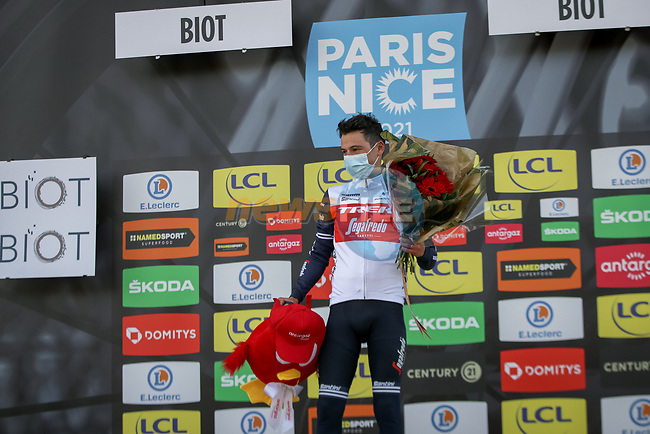 Kenny Elissonde (FRA) Trek-Segafredo is awarded the day's combativity prize at the end of Stage 6 of Paris-Nice 2021, running 202.5km from Brignoles to Biot, France. 12th March 2021.<br /> Picture: ASO/Fabien Boukla | Cyclefile<br /> <br /> All photos usage must carry mandatory copyright credit (© Cyclefile | ASO/Fabien Boukla)