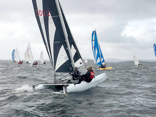 Boats of all shapes and sizes, including catamarans, compete in the Cong Galway Race
