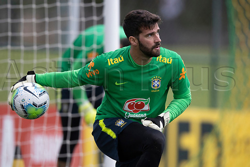 10th November 2020; Granja Comary, Teresopolis, Rio de Janeiro, Brazil; Qatar 2022 qualifiers; Alisson of Brazil during training session in Granja Comary
