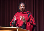 """January 16, 2018; Writer, activist, speaker, and filmmaker, Bree Newsome  delivers a keynote address to the campus community titled, """"Tearing Hatred from the Sky,"""" in Debartolo Hall. (Photo by Barbara Johnston/University of Notre Dame)"""