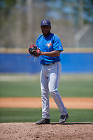 Toronto Blue Jays pitcher Yennsy Diaz (13) gets ready to deliver a pitch during a minor league Spring Training game against the New York Yankees on March 30, 2017 at the Englebert Complex in Dunedin, Florida.  (Mike Janes/Four Seam Images)