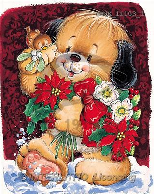 Stephen, CHRISTMAS ANIMALS, paintings, dog, Christmas flowers(GBUK11103/1,#XA#) Weihnachten, Navidad, illustrations, pinturas