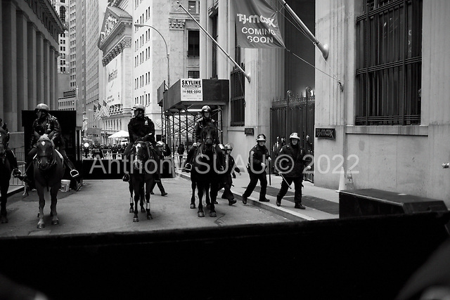 """New York, New York<br /> November 17, 2011<br /> <br /> """"Occupy Wall Street"""" protesters mark the movement's two-month milestone by marching from Zuccotti Park, in mass, to various access streets surrounding the New York Stock Exchange, which the police had barricaded off. Yet instead of the police keeping protesters out, protesters locked down those entrances to Wall Street and the New York Stock Exchange creating havoc as the police made more then 240 arrests to try and keep the streets open to normal traffic.<br /> <br /> Protesters are meet with barricades, police on houses and baton wielding riot police at Nassau just one block form the NYSE."""