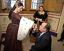 :: FIRST MINISTER ALEX SALMOND IS GREATED BY MARY OF GUISE (LAURA TINCH), WIFE OF KING JAMES V, AS HE VISITS STIRLING CASTLE TO ANNOUNCE DETAILS OF THE RENAISSANCE ROYAL PALACE OPENING EVENT ::