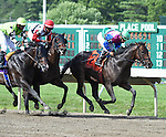 Itsmyluckyday (no. 7), ridden by Paco Lopez and trained by Edward Plesa Jr., wins the grade 3 Salvator Mile Stakes for three year olds and upward on July 6, 2014 at Monmouth Park in Oceanport, New Jersey. (Bob Mayberger/Eclipse Sportswire)
