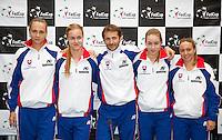 Februari 06, 2015, Apeldoorn, Omnisport, Fed Cup, Netherlands-Slovakia, Draw, Cityhall, Slovakian team<br /> Photo: Tennisimages/Henk Koster