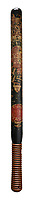BNPS.co.uk (01202) 558833. <br /> Pic: Dreweatts/BNPS<br /> <br /> Pictured: This George IV painted and turned wood truncheon has an estimate of £800. <br /> <br /> A hard-hitting single owner collection of rare 18th and 19th century police truncheons have emerged for sale.<br /> <br /> The over 50 wooden clubs were carried around by constables of the parish in the years before official police forces were founded.<br /> <br /> The batons were often beautifully decorated and sometimes stamped or marked to commemorate a notorious public order incident that had previously happened in the parish.