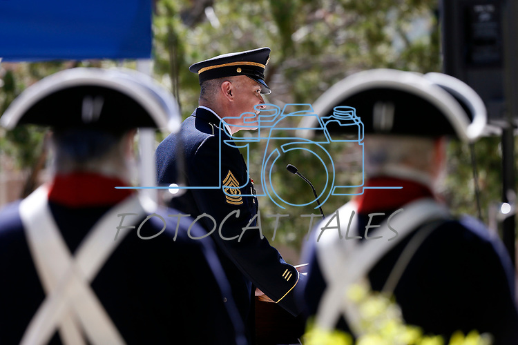 Sgt. Maj. Jared Kopacki speaks at the annual Flag Day ceremony at the Nevada Veterans Memorial on the Capitol grounds in Carson City, Nev., on Friday, June 14, 2019. <br /> Photo by Cathleen Allison/Nevada Momentum