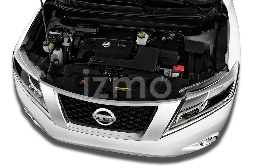 High angle engine detail of a  .2013 Nissan Pathfinder  SUV