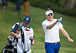 Ian Poulter of England walks with his caddier during Hong Kong Open golf tournament at the Fanling golf course on 24 October 2015 in Hong Kong, China. Photo by Xaume Olleros / Power Sport Images